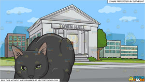 A black cat with bright green eyes and A Town Hall Background
