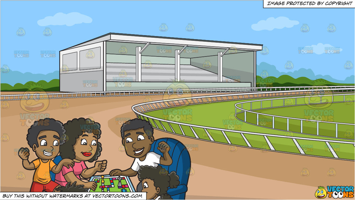 A Black Family Playing A Board Game And A Horse Racing Track Backgroun Clipart Cartoons By Vectortoons