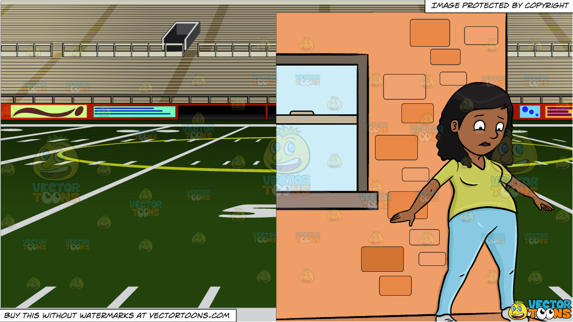 A Black Female About To Jump Off The Ledge and Empty Football Stadium  Background