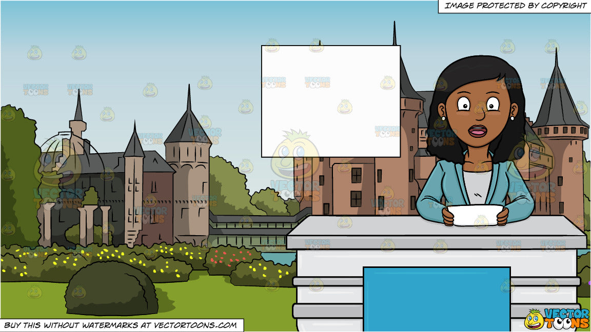 A Black Female News Anchor Reporting The Headlines and Beautiful European  Castle Background