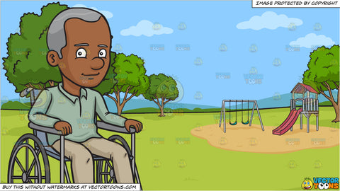 A Black Happy Grandfather Sitting In A Wheelchair and A Park With Slide And Swings Background