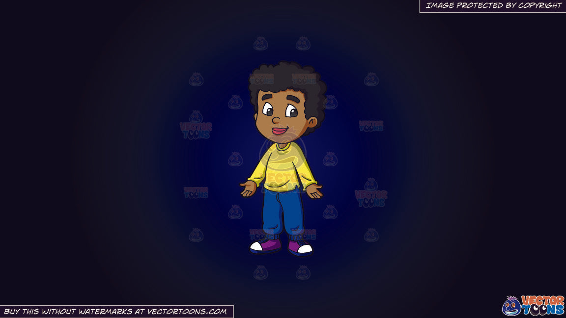 Clipart A Black Male Primary School Student With Curly Hair On A