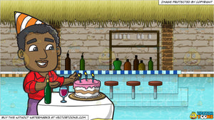 A Black Man Appreciating His Birthday Cake and A Swim Up Bar In A Pool Background