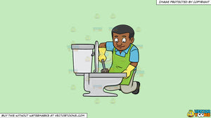 Cartoon clipart: a black man cleaning a toilet seat on a solid tea green c2eabd background