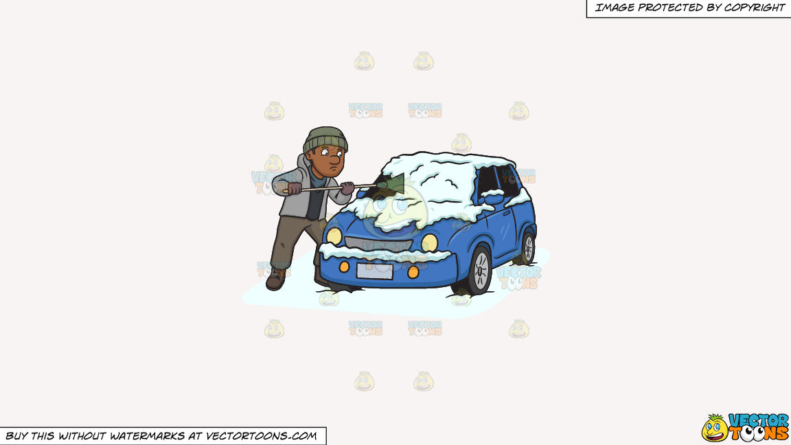 Clipart: A Black Man Cleaning The Snow Off His Car on a ...