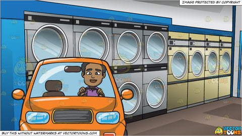 A Black Man Driving An Orange Compact Sedan and Inside A Laundromat Background