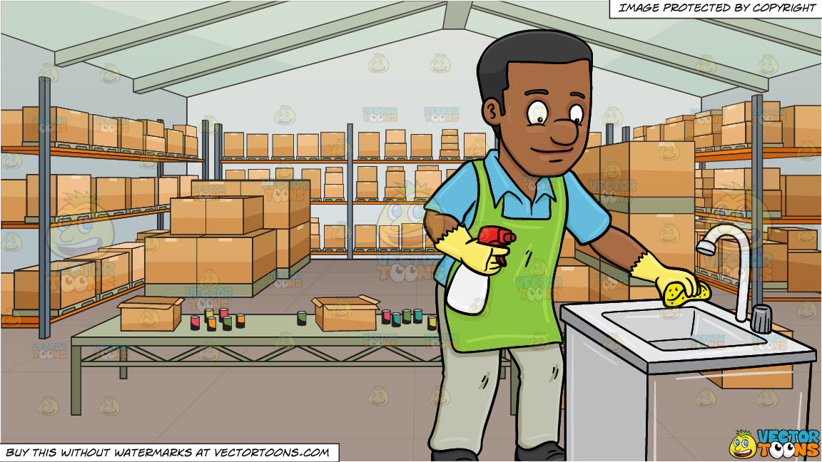A Black Man Polishing The Kitchen Sink And A Food Bank Filled With Box Clipart Cartoons By Vectortoons