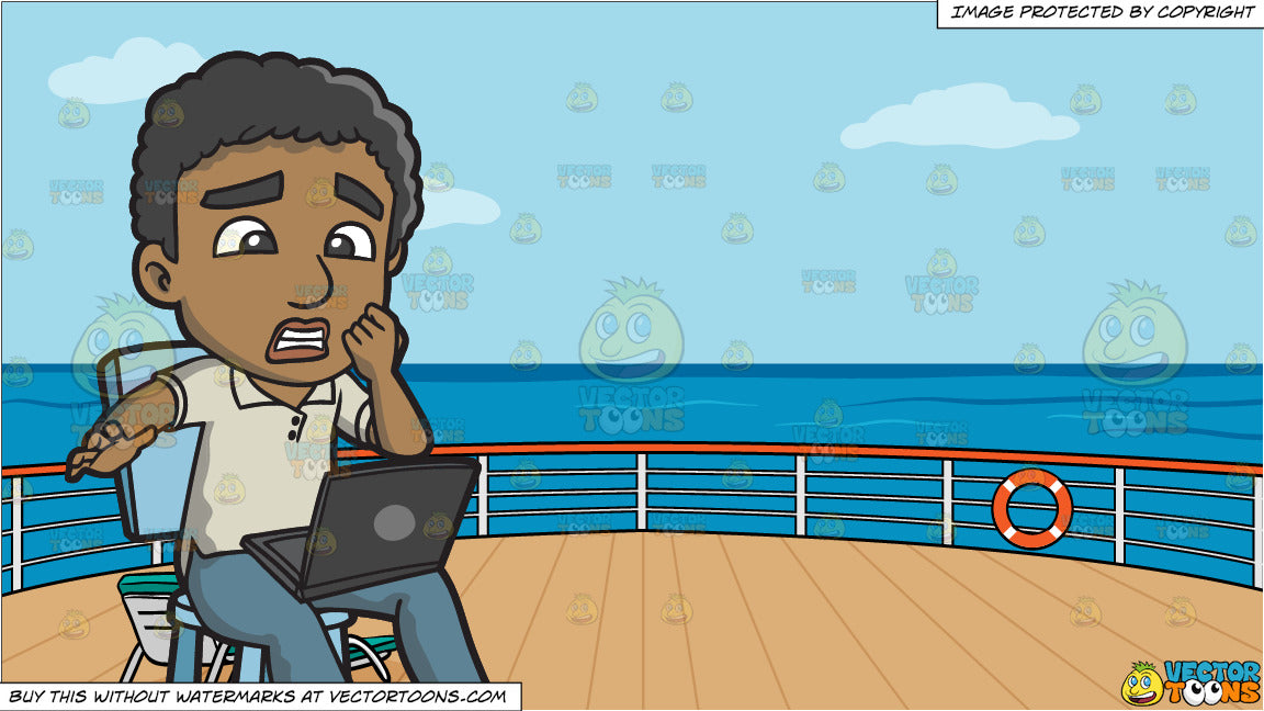 Cool A Black Man Shocked By News From The Internet And Deck Of A Cruise Ship With Deck Chairs Background Gmtry Best Dining Table And Chair Ideas Images Gmtryco