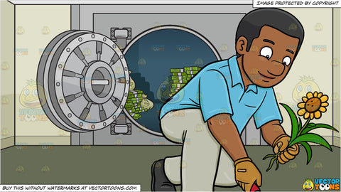 A Black Man Transferring A Sunflower To A New Location and An Opened Bank Vault Full Of Cash Background