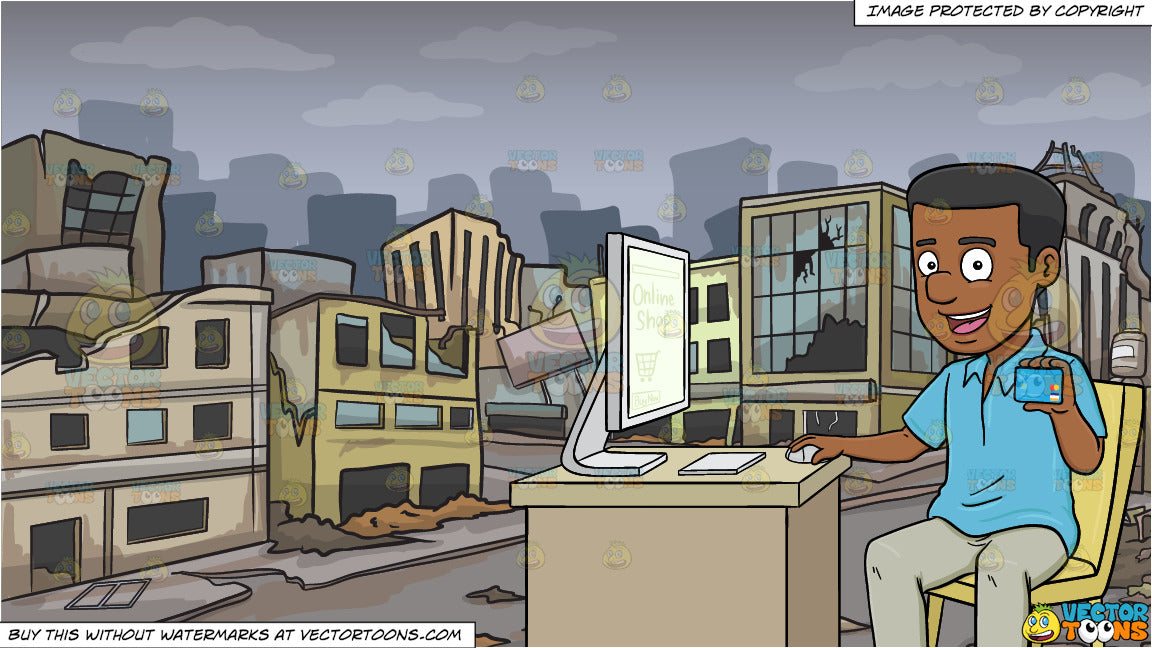 A Black Man Using A Desktop Computer To Shop Online With A Credit Card and  A Ghost City After A Disaster Background