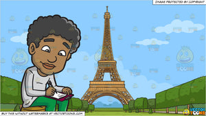 A Black Man Writing An Essay and Eiffel Tower Background