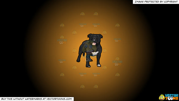 Clipart: A Black Pit Bull Dog on a Orange And Black Gradient Background