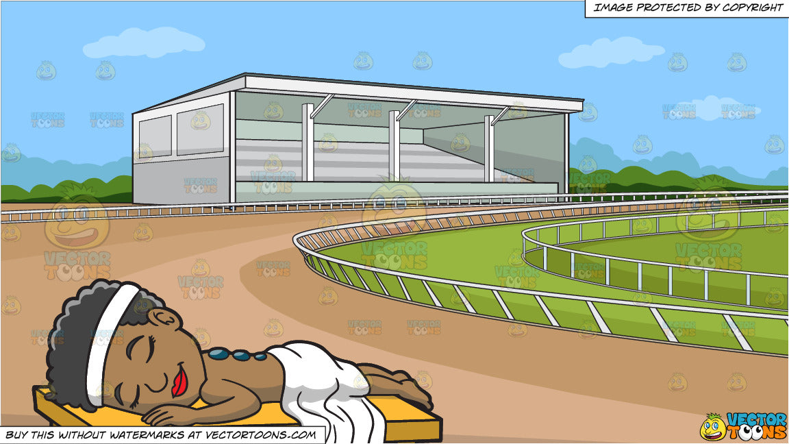 A Black Woman Getting A Hot Stone Therapy and A Horse Racing Track  Background