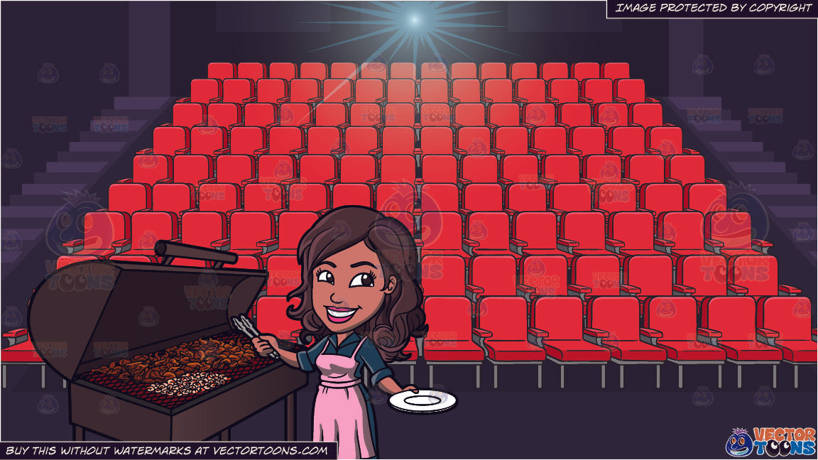 A Black Woman Grilling Chicken Barbecue And Movie Theater Seats Backgr Clipart Cartoons By Vectortoons