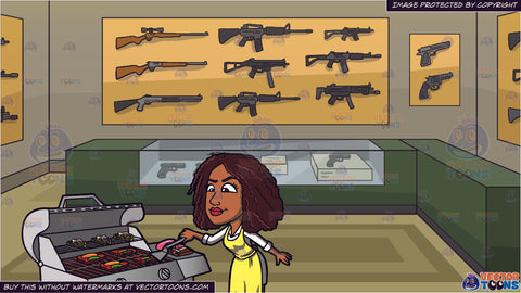 A Black Woman Grilling Steak And Vegetables and A Gun Store Background