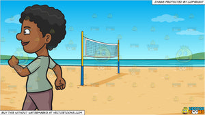 A Black Woman Looking Cheerful While Walking and Beach Volleyball Background