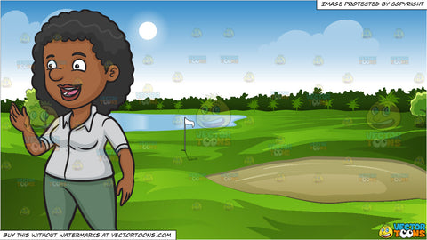 A Black Woman Looks Happy While Speaking With Someone and Green Golf Course Background