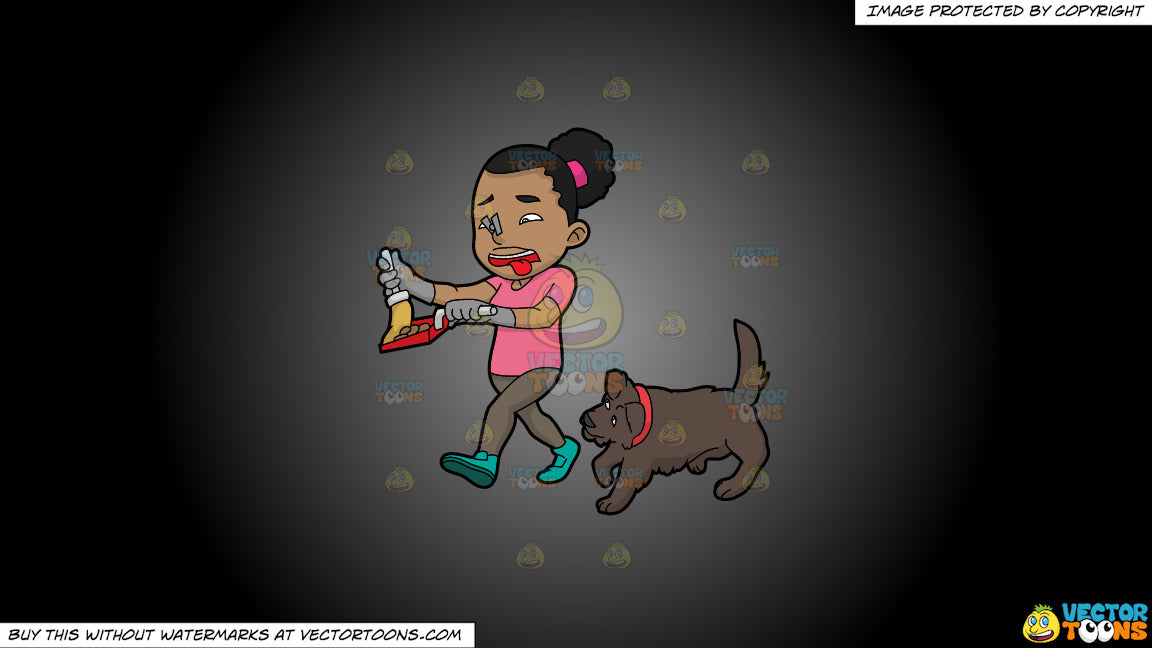 Clipart: A Black Woman Picking Up The Poop Of Her Dog on a Grey And Black  Gradient Background
