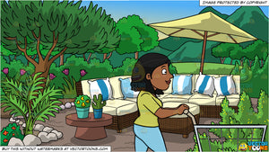 A Black Woman Pushing A Shopping Cart Inside The Supermarket and A Garden Patio Background