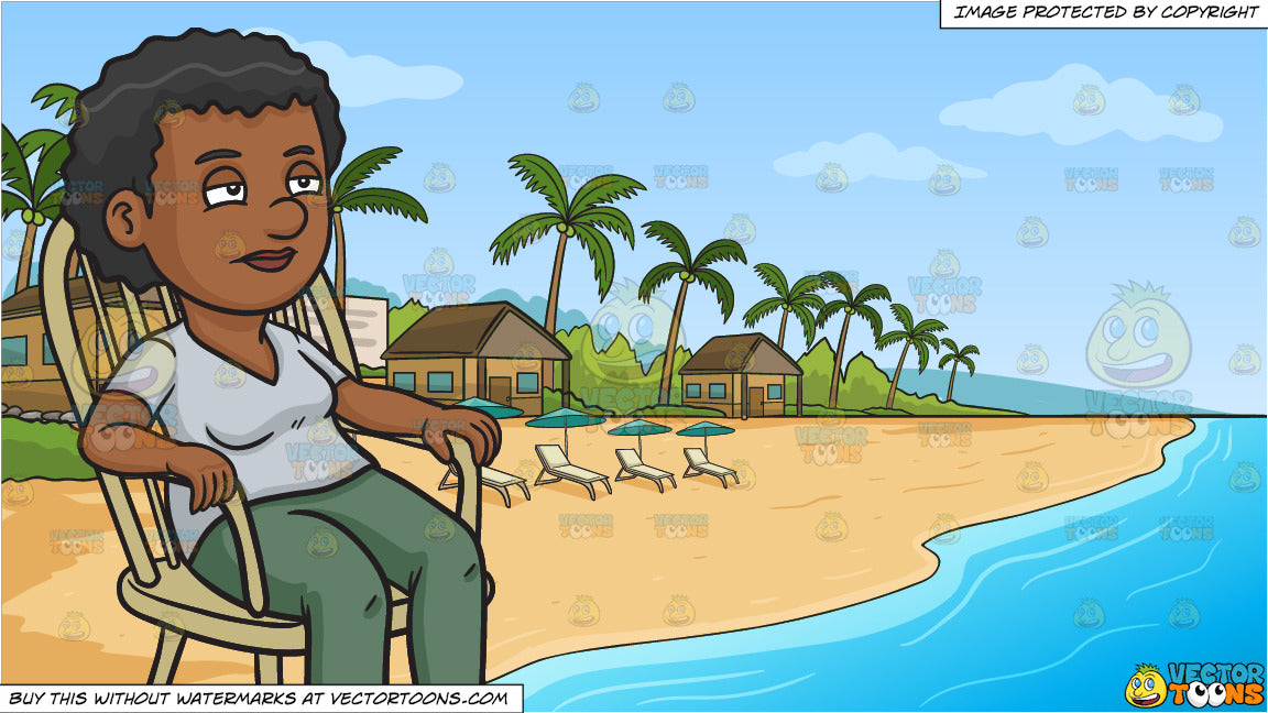 Brilliant A Black Woman Relaxing In A Rocking Chair And A Simple Beach Front Resort Background Ibusinesslaw Wood Chair Design Ideas Ibusinesslaworg