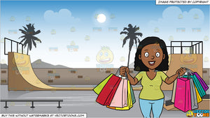 A Black Woman Smiles In Pleasure After A Shopping Spree and Skateboard Park Background
