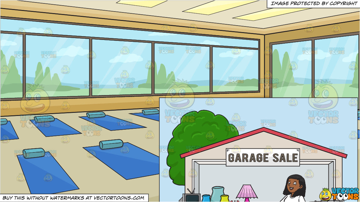 A Black Woman Volunteer Having A Garage Sale And Inside A Bright Yoga Clipart Cartoons By Vectortoons
