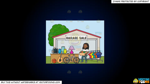 Cartoon clipart: a black woman volunteer having a garage sale on a dark blue and black gradient background