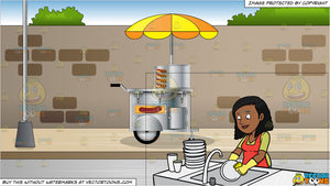 A Black Woman Washing The Dishes and Hot Dog Cart On A Sidewalk Background