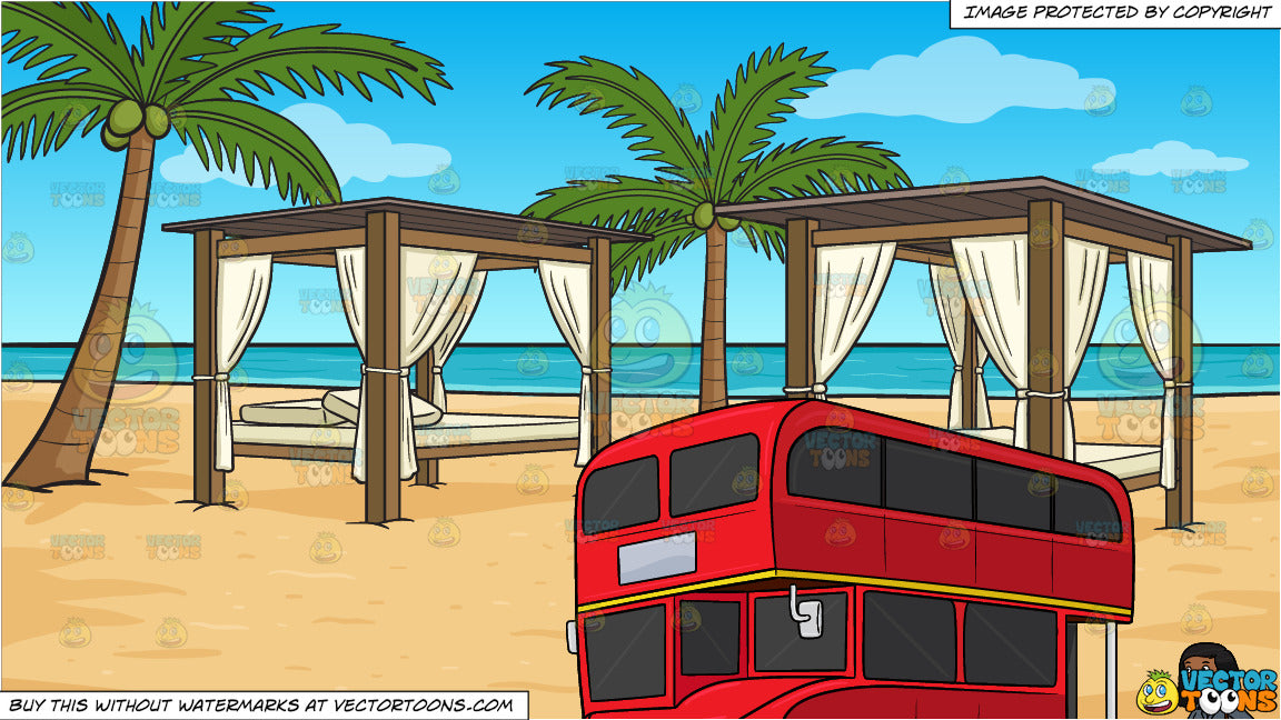A Black Woman Who Is About To Ride A Double Deck Bus and Luxury Cabanas On  A Beach Background