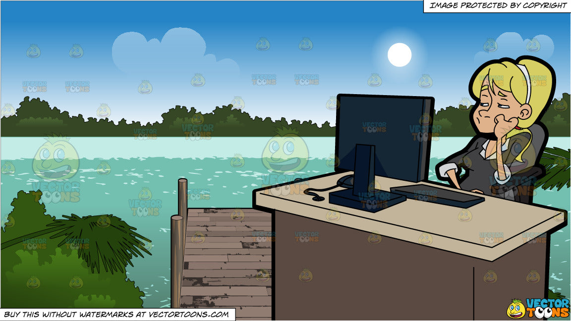 A Bored Woman Using A Computer At Work and A Boat Tied Up To A Dock  Background