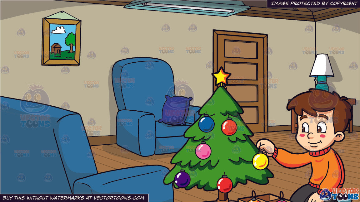 a boy decorating a christmas tree and a simple living room background clipart cartoons by vectortoons a boy decorating a christmas tree and a simple living room background clipart cartoons by vectortoons