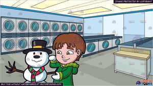 A Boy Fixing A Snowman and Inside A Modern Laundromat Background