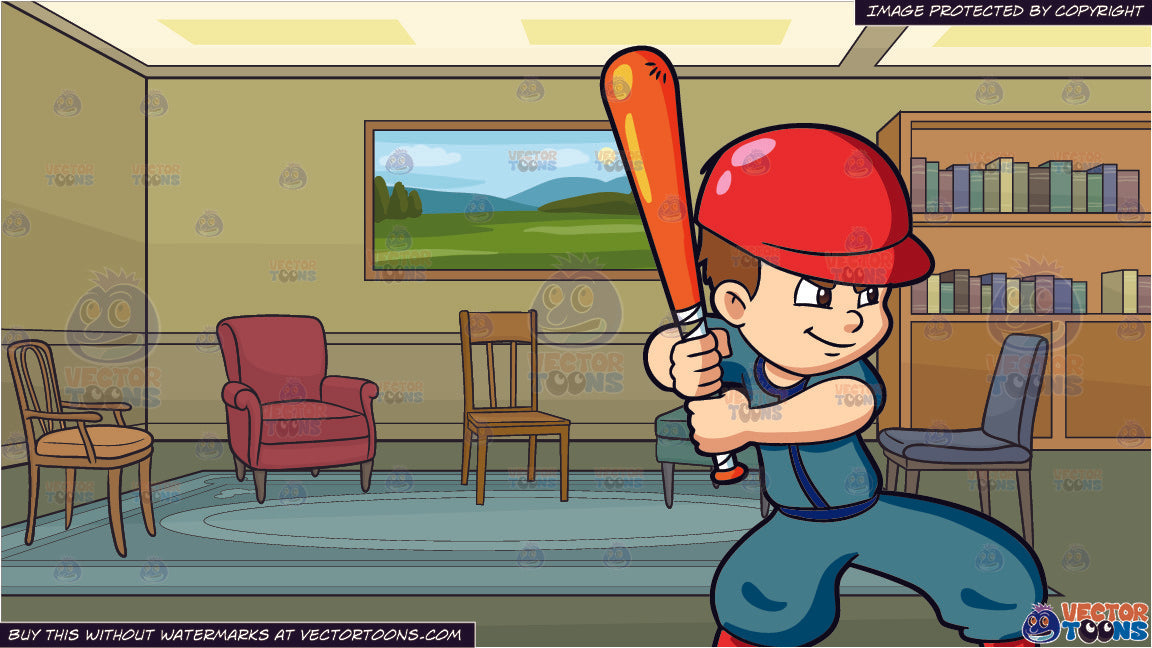 A Boy Getting Ready To Bat A Baseball And A Meeting Room Background