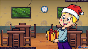 Christmas Sports Background.A Boy Handling A Christmas Gift And Inside A Sports Bar Background