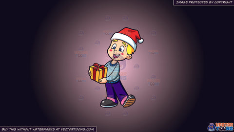 Cartoon clipart: a boy handling a christmas gift on a pink and black gradient background