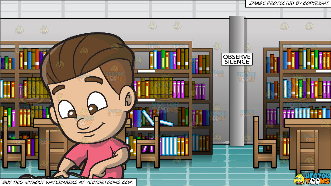 A Boy Indulgently Plays An App On His Mobile Tablet and Inside An Empty  Library Background