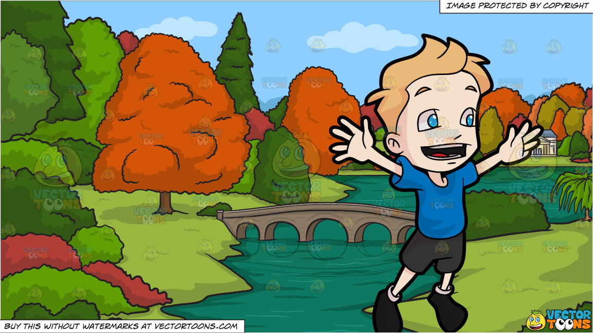 b8d8482e27fd A Boy Jumping For Joy and A River During Autumn Background – Clipart ...