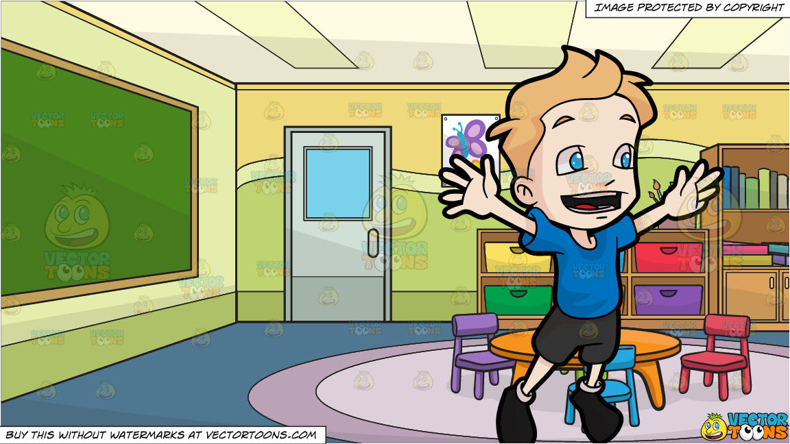 052b7075cdef A Boy Jumping For Joy and Inside A Kindergarten Classroom Background ...