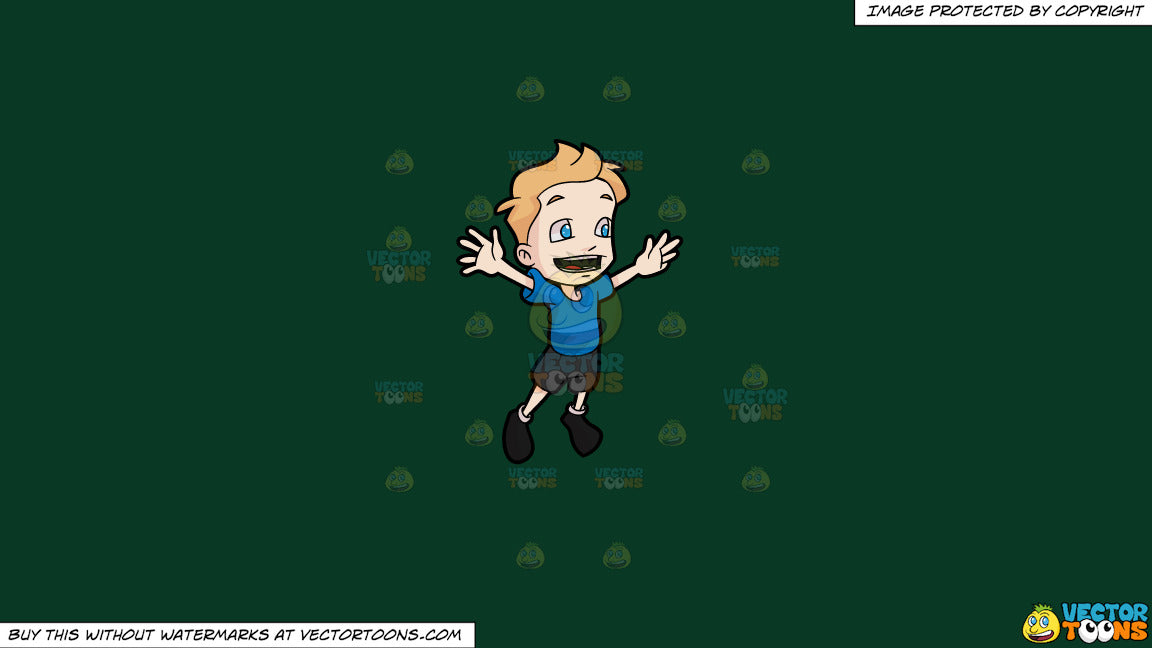 4de402d81e51 Clipart  A Boy Jumping For Joy on a Solid Dark Green 093824 ...
