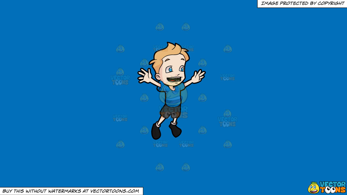 e39e6d7c029e Clipart  A Boy Jumping For Joy on a Solid Spanish Blue 016Fb9 ...
