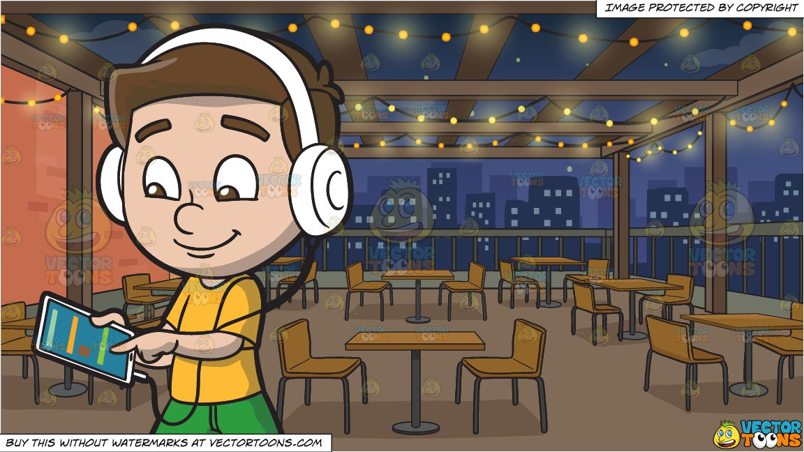 A Boy Listening To A Music Playlist Using His Mobile Tablet And Headphones And Manhattan Rooftop Restaurant Background