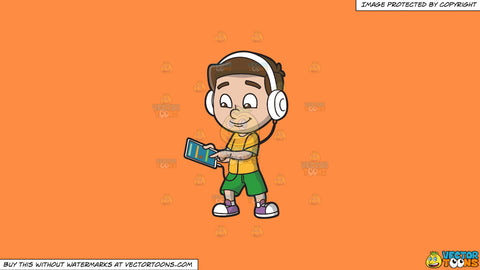 Cartoon clipart: a boy listening to a music playlist using his mobile tablet and headphones on a solid mango orange ff8c42 background