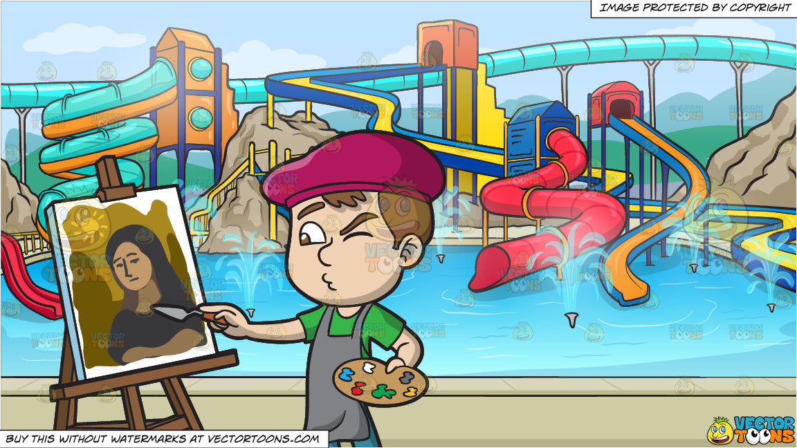 A Boy Painting A Portrait And A Cool Water Park Background Clipart Cartoons By Vectortoons