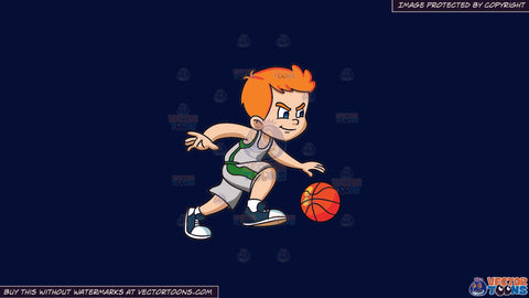 Cartoon clipart: a boy playing basketball on a solid dark blue 011936 background