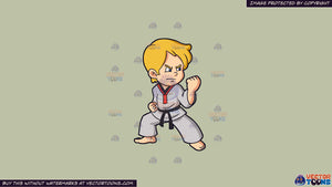 Clipart: A Boy Practicing His Taekwondo Stance on a Solid Pale Silver  C6Ccb2 Background