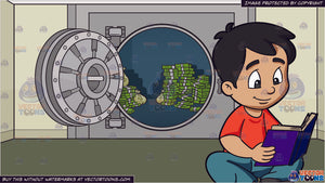 A Boy Reading A Novel and An Opened Bank Vault Full Of Cash Background