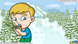 A Boy Shyly Smells His Stinky Breath and A Snowy Landscape Background