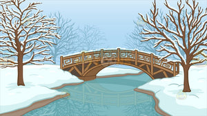 A Bridge Over A Frozen Stream Background