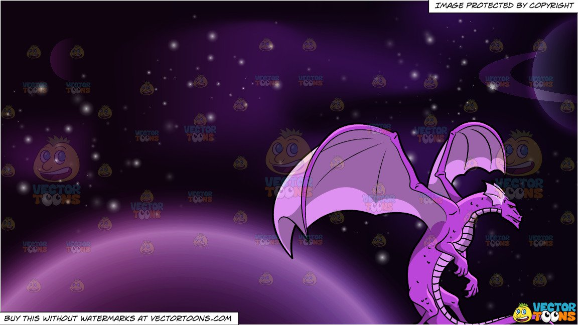 A Bright Purple Dragon and Outer Space Background