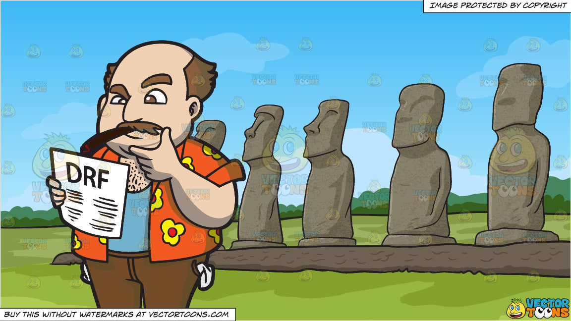 A Broke Man Studying His Horse Racing Form and Moai Polynesian Statues  Background